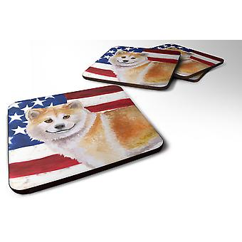 Set of 4 Shiba Inu Patriotic Foam Coasters Set of 4