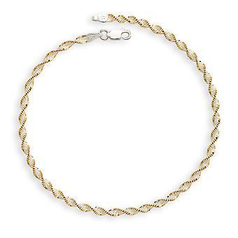 925 Sterling sølv 9,0 tommers Rhodium gull-blinket diam-cut to-tone Chain anklet hummer låsen armbånd