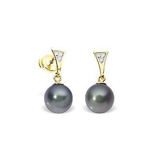 Boucles d'Oreilles Perles de Culture Noires, Diamants et Or Jaune 750/1000
