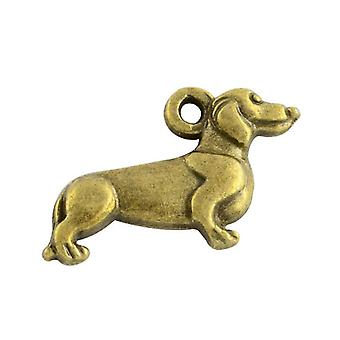 Packet 20 x Steampunk Bronze Tibetan 21mm Dachshund Dog Charm/Pendant ZX15210