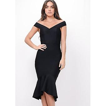 Bodycon Bandage Frill Hem Fishtail Bardot Midi Dress Black