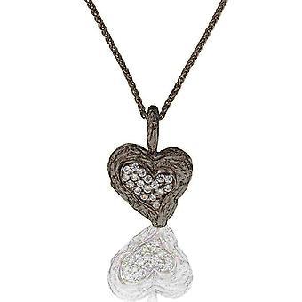 Orphelia Silber 925 Kette mit Anhänger Herz schwarz-Rhodium plattiert Zirkonium ZH-7082/2