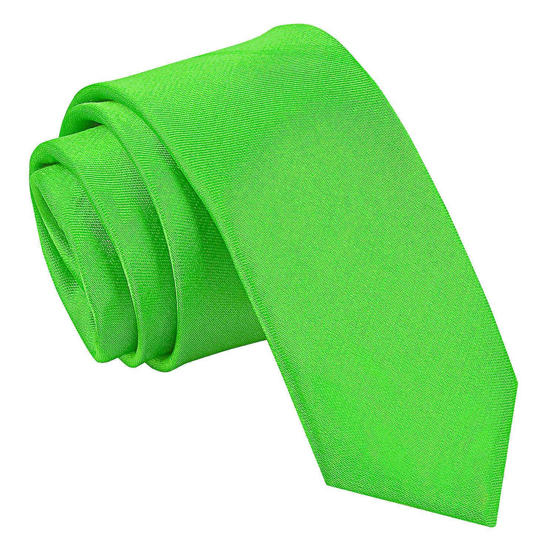 Apple Green Plain Satin Skinny Tie
