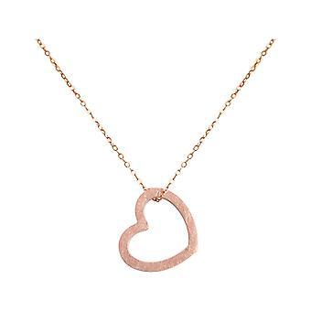 Gemshine  Damen Herz Halskette Anhänger 925 Silber Rose Vergoldet 2,5 cm