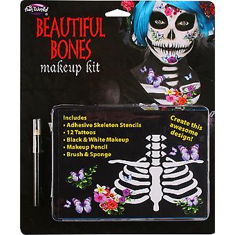 Beautiful Bones Skeleton Day Of The Dead Mexican Womens Costume Makeup Kit
