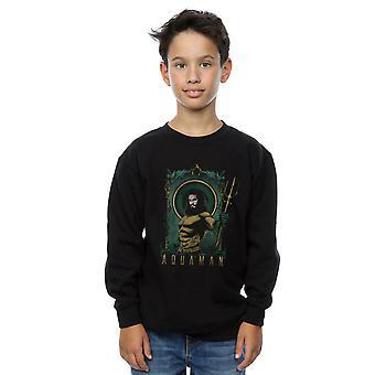 DC Comics Boys Aquaman Framed Trident Sweatshirt