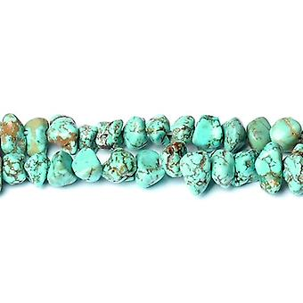 Strand 60+ Turquoise Magnesite Approx 8x12mm Dyed Smooth Nugget Beads CB50591-1