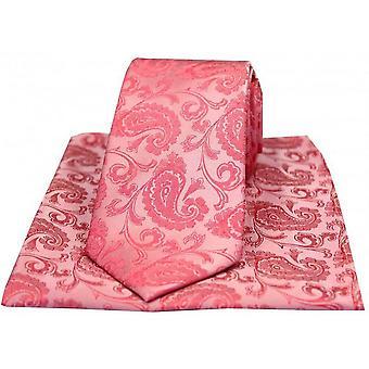 David Van Hagen Medium Paisley Luxury Tie and Handkerchief Set - Fuchsia