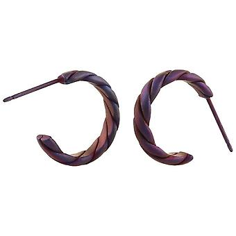 Ti2 Titanium Medium Twisted Hoop Earrings - Coffee Brown