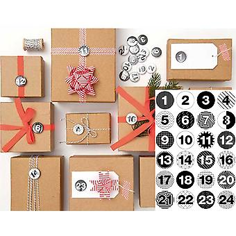 24 Numbered Badges for Advent Calendar Crafts - Monochrome