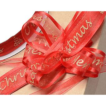 Red Merry Christmas Organza Pull Bow Ribbon Roll - Makes up to 33 Small Bows