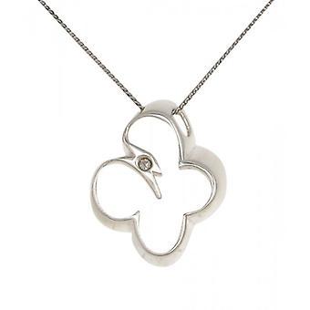 Cavendish francés plata abierta mariposa colgante con cadena de plata de 16-18