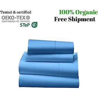 1000 tc-100% エジプト綿のベッド シート セット ライト ブルー