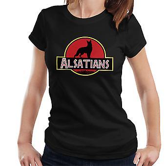 Alsace hunden Jurassic Park blanding kvinner t-skjorte