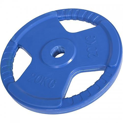 Poids disque 51mm en fonte rev�tement caoutchouc de 20kg avec poign�e