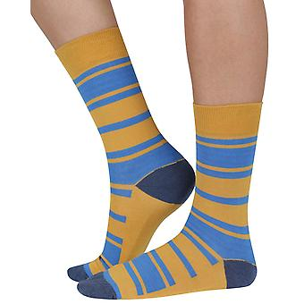 Chunky Stripe bamboo organic crew sock in yellow | seriouslysillysocks