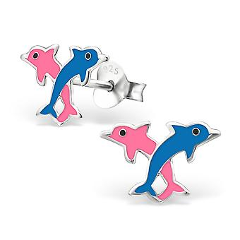 Dolphin - 925 Sterling Silver Colourful Ear Studs - W4054X