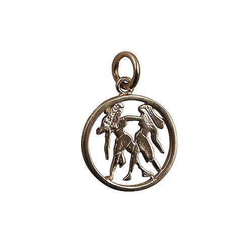 9ct Gold 11mm pierced Gemini Zodiac Pendant