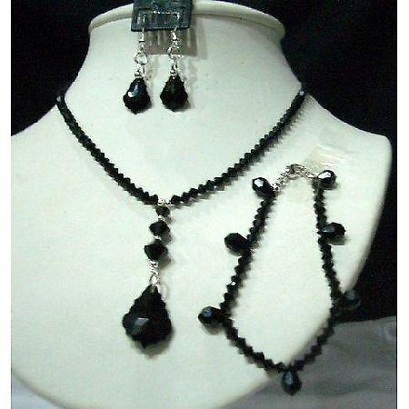 CustomMade Swarovski Jet Crystals Jewelry Set w/ Bracelet