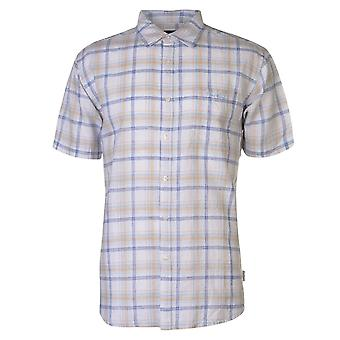 Pierre Cardin Mens Check Linen Shirt Casual Tops Short Sleeve
