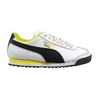 Puma Roma grundlegende Jr weiß/leise Schatten-gelb Grundschule 354259 15 Größe 4 Medium