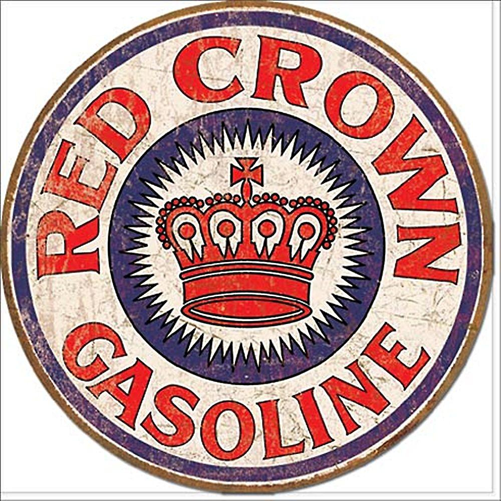 Red Crown Gas Round Metal Sign    (de)