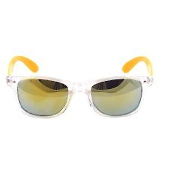 Clear Frame Wayfarer Style Glasses with Mirrored Lens and Orange Arm