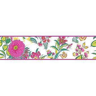 K2 Fleurs Floral fond frontière moderne blanc rose vert jaune vif