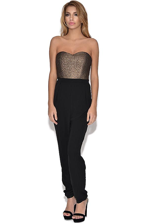 Girls On Film Black and Gold Bandeau Jumpsuit