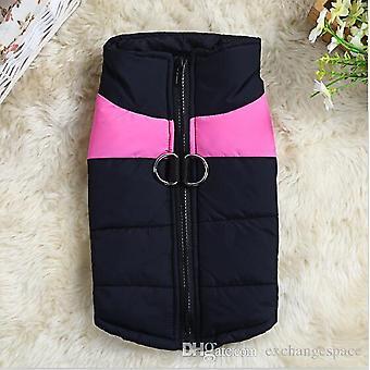 Perro cachorro negro / rosa abrigo chaqueta Zip mascotas mascota linda ropa ropa de perro