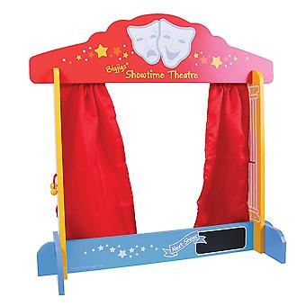 Bigjigs Toys Wooden Table Top Theatre Puppets Show Stage Window Roleplay