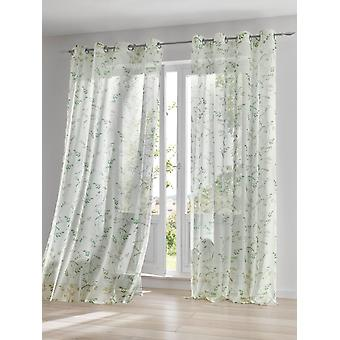 Heine Home Set of Decostore Light Curtain with Floral Pattern offwhite/Green Eyelets Transparent HxW 175x140 cm