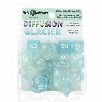 Diffusion Glacier poly 15 set dobbelstenen