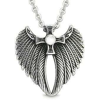 Angel Wings Celtic Viking Cross Magic Powers Amulet White Simulated Cats Eye Pendant 18 inch Necklace