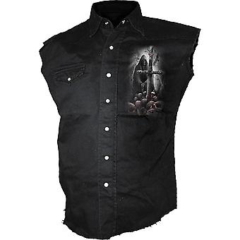 Spiral Direct Gothic SOUL SEARCHER - Sleeveless Stone Washed Worker Black|Reaper|Cross|Souls