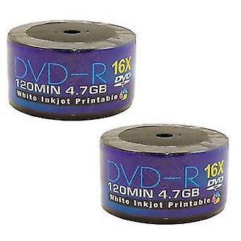 100 DVDs AONE DVD-R 16X Write Blank Discs FF White Inkjet Printable (Twin 50 Spindle/Cake Box)