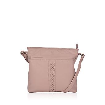 Plaited Leather Cross Body Bag in Beige