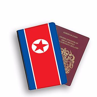 NORTH KOREA Flag Passport Holder Style Case Cover Protective Wallet Flags design