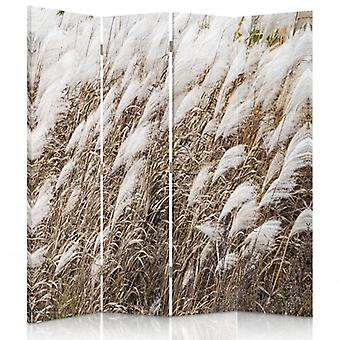 Room Divider, 4 Panels, Double-Sided, 360 ° Rotatable, Canvas, Dry Grass