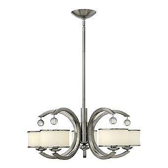 Monaco Contemporary 5 Arm Chandelier with Trimmed Opal Glass