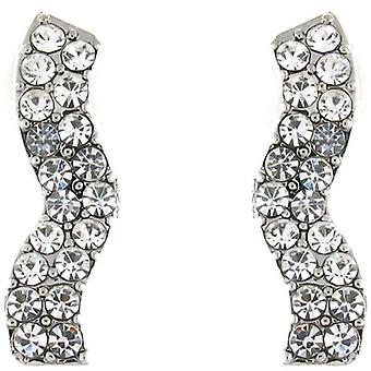 Clip On Earrings Store Classic Clear Crystal Wave Clip On Earrings