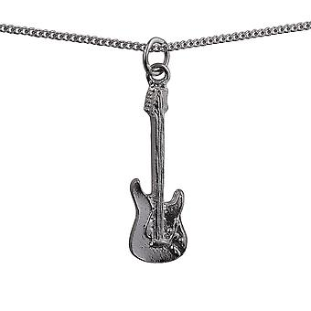Silver 30x10mm Guitar Pendant with a curb Chain 18 inches