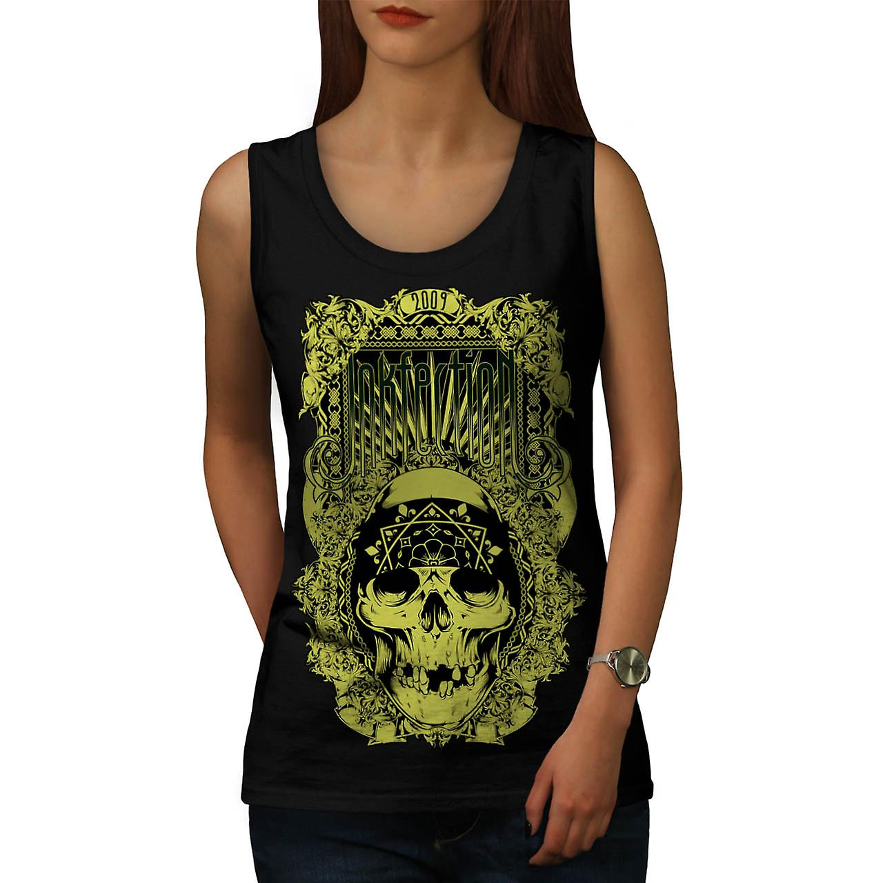 Inkfection Death Skull Women Black Tank Top | Wellcoda