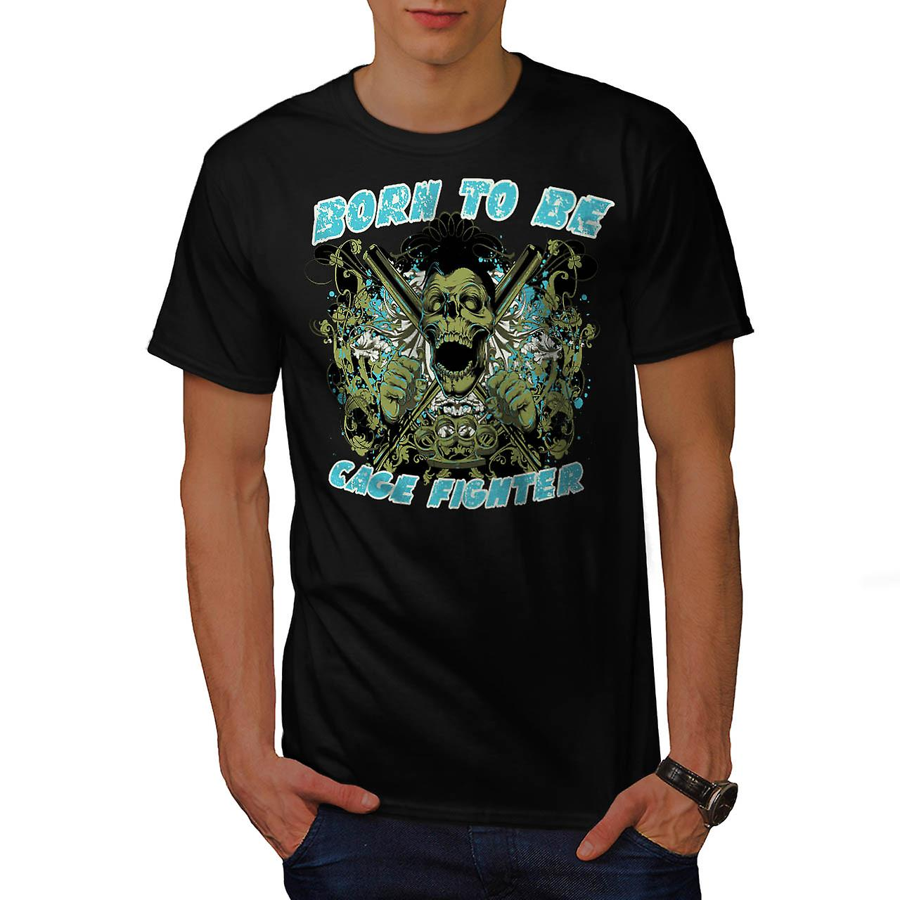 Born Cage Fighter USA Dead Skull Men Black T-shirt | Wellcoda