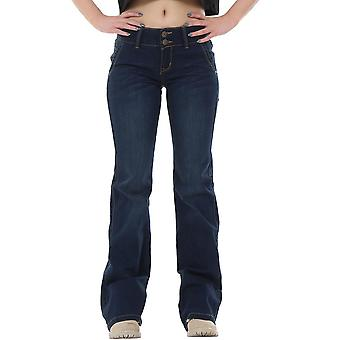60s 70s Style Flared Bootcut Stretch Hipster Jeans - Dark Blue