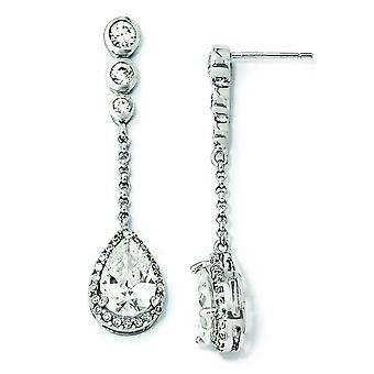 Post-oorbellen in zilver CZ Teardrop Dangle