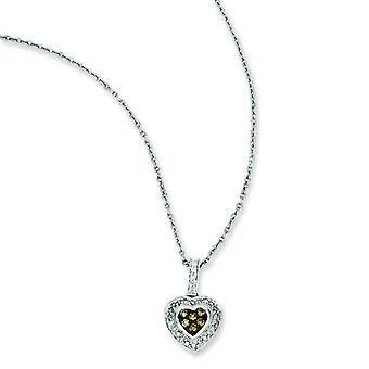 Sterling Silver Champagne Diamond Small Heart Pendant - .25 dwt