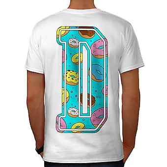 Letter D Donut Fashion Men White T-shirt Back | Wellcoda