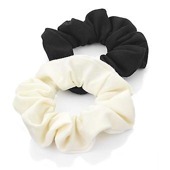 Two Piece Black & Cream Elasticated Jersey Scrunchie Hair Accessory Set 3cm