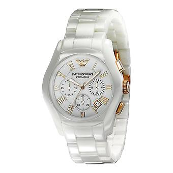 Emporio Armani AR1416 Blanc & Rose or Ceramica Chronograph Watch